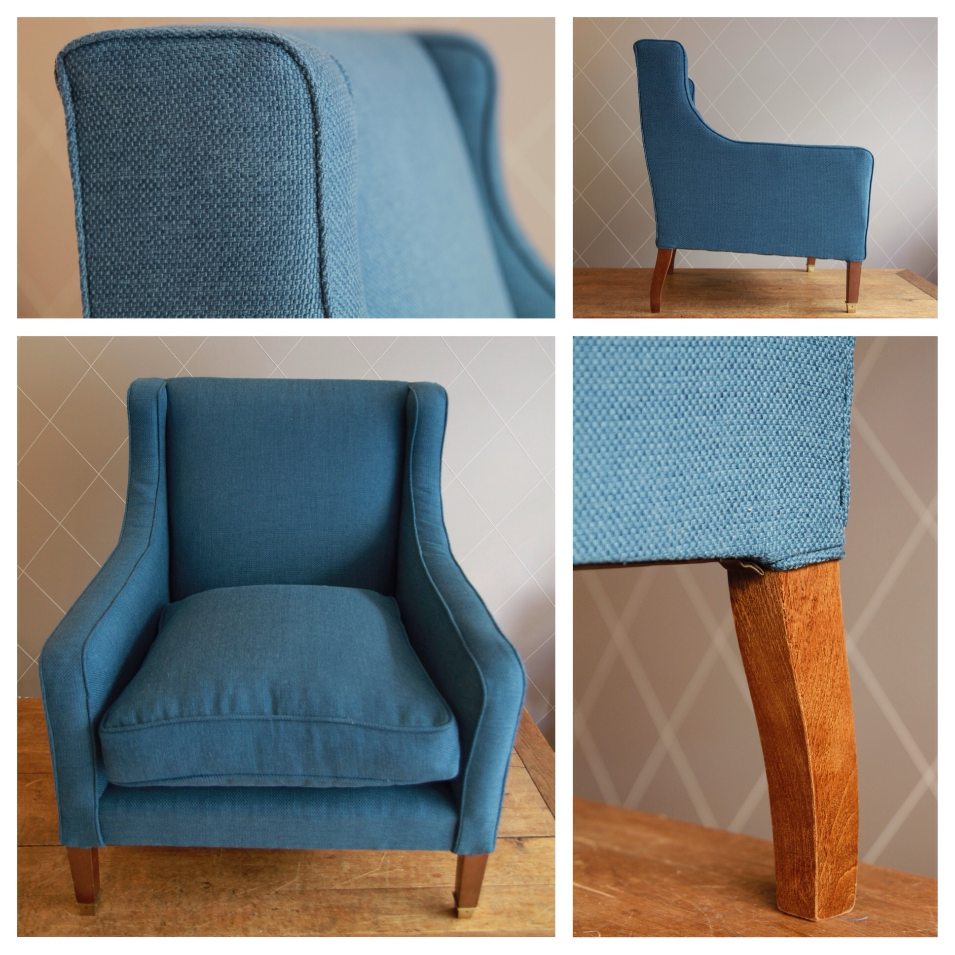 nouveau tissu bleu pour fauteuil vintage atelier md2atelier md2. Black Bedroom Furniture Sets. Home Design Ideas