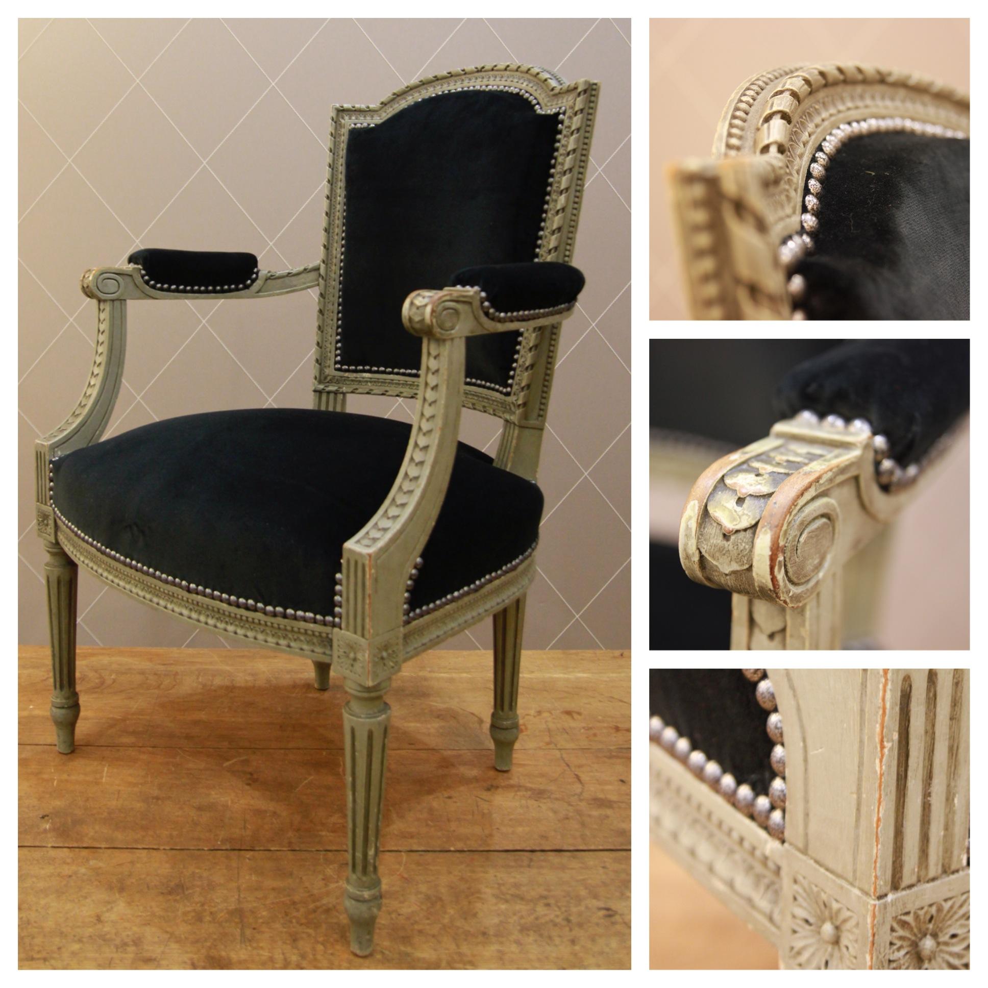 fauteuil louis xvi en velours noir atelier md2. Black Bedroom Furniture Sets. Home Design Ideas