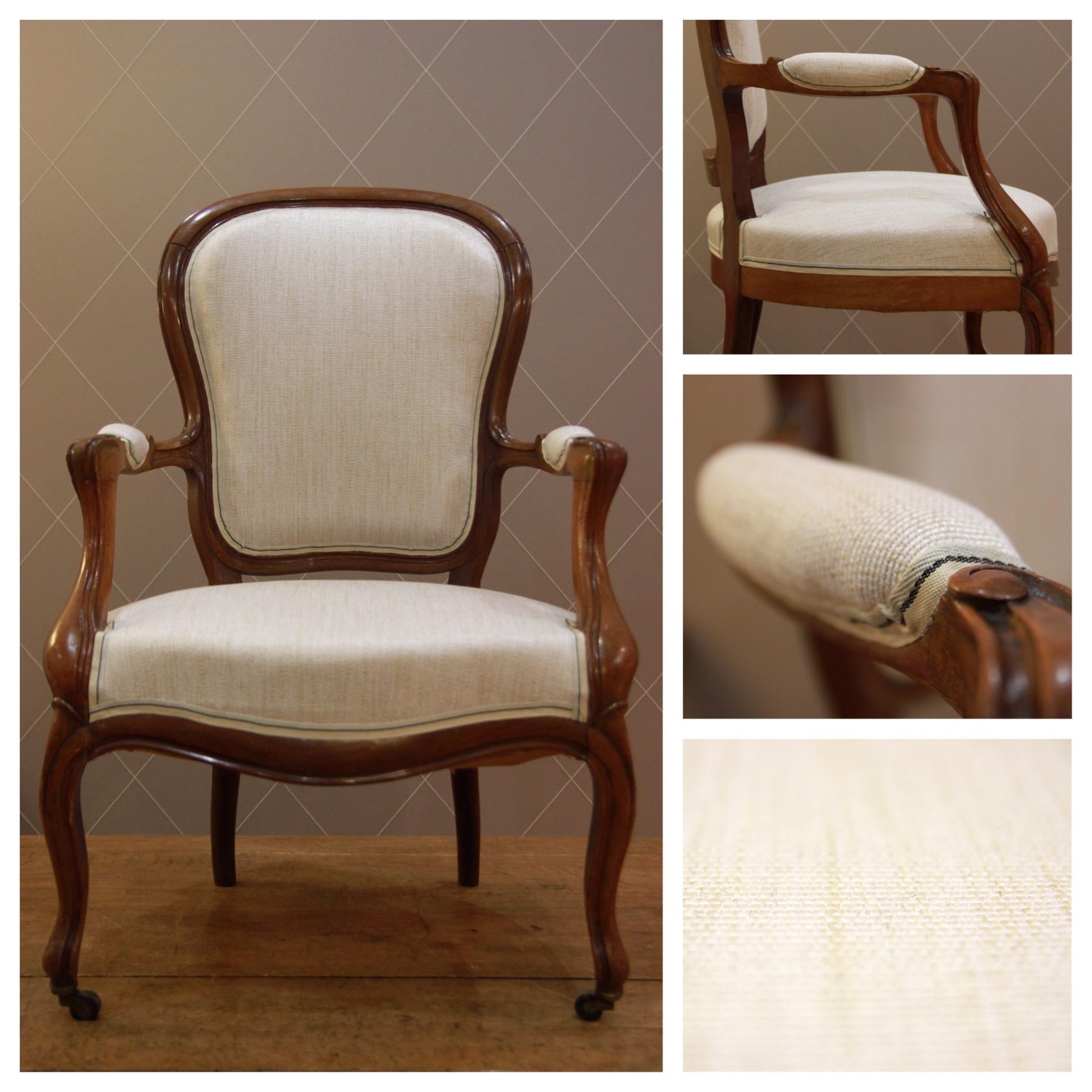 Chaise Style Louis Philippe En Lin Beige Caramel Atelier MD2