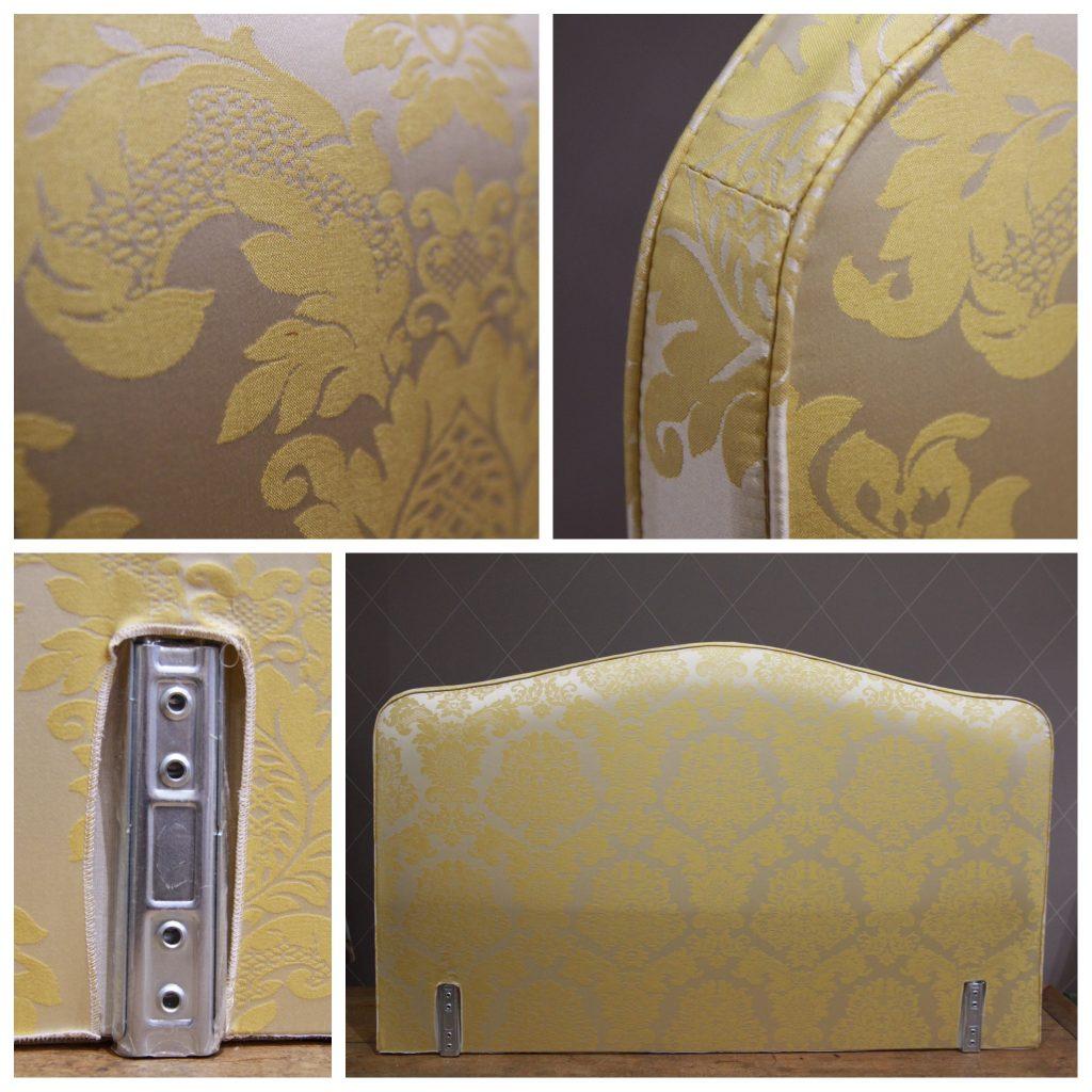 t te de lit louis xv habill e en montespan jaune atelier md2atelier md2. Black Bedroom Furniture Sets. Home Design Ideas