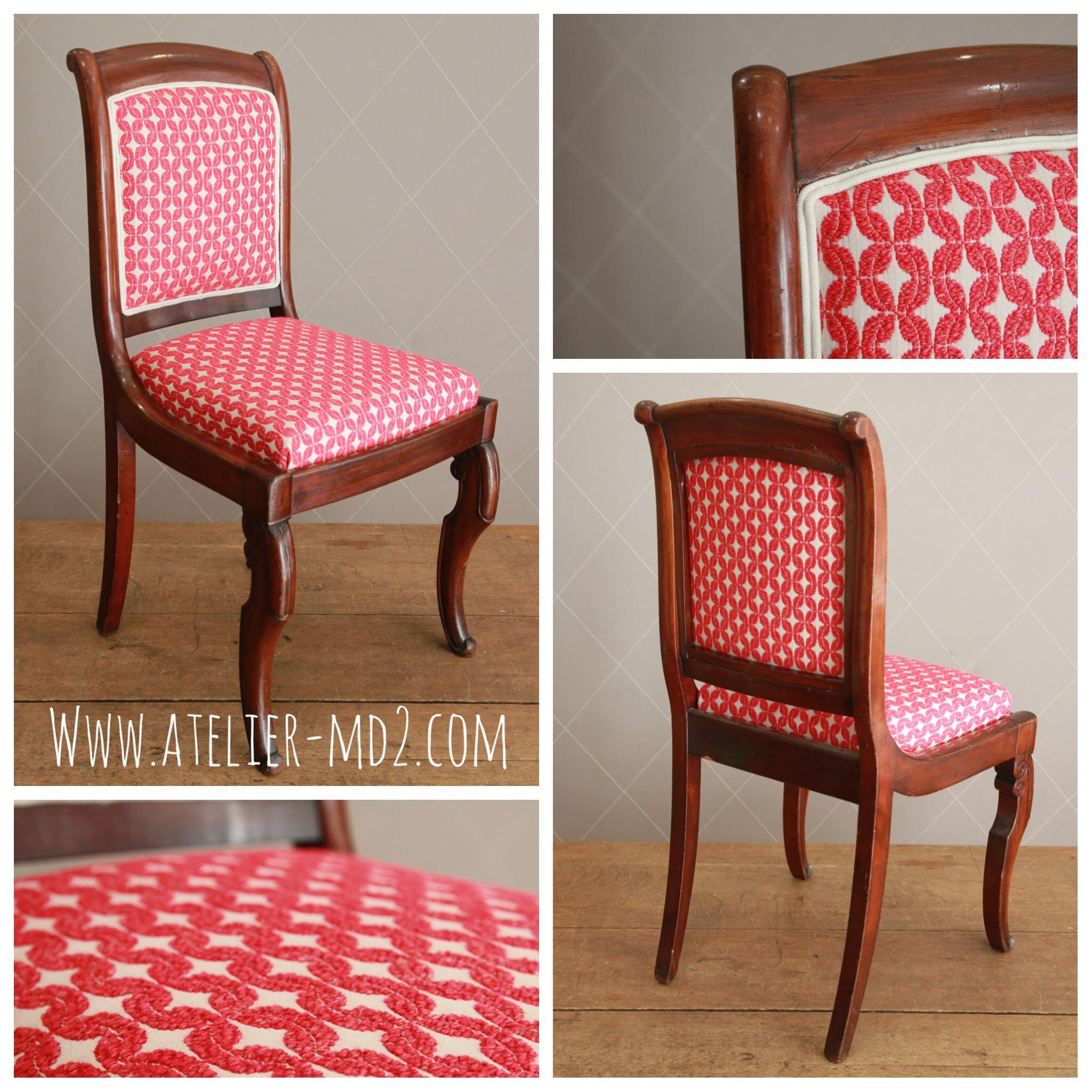 chaise de style restauration avec passepoil contrast atelier md2atelier md2. Black Bedroom Furniture Sets. Home Design Ideas